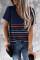 Blå fargerik stripete T-skjorte