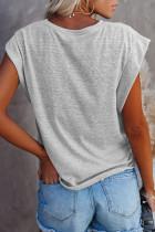 Grå bomullsblanding rund hals T-skjorte
