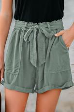 شلوارک باری جیب دار Hemline دستبند سبز و کمربند