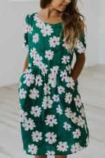Zöld Crewneck rövid ujjú zsebbel virágos lány Midi ruha