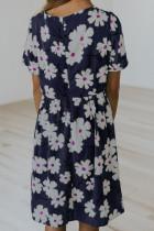 Kék Crewneck rövid ujjú zsebbel virágos lány Midi ruha