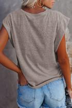 Kahverengi Pamuk Karışımlı Yuvarlak Yaka Tişört