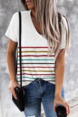 Hvit fargerik stripete T-skjorte