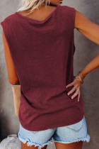 Snap Buttons Scoop Neck Tank med lomme