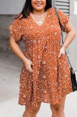 Oransje pluss størrelse V-hals leopardprint kort ermet minikjole