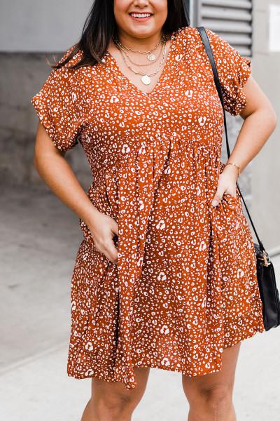 Orange Plusstorlek V-hals Leopardmönster Kortärmad miniklänning