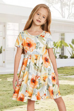 Sárga Crewneck rövid ujjú virágos lány Midi ruhája