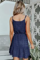 Kék svájci pöttyös spagetti húzózsinór mini ruha