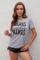 T-shirt grigia con stampa grafica di supporto MAMAS