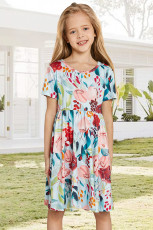 Sky Blue Crewneck rövid ujjú virágos lány Midi ruhája
