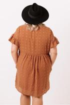 Oransje pluss størrelse V-hals ruffle sveitsisk prikk mini kjole med lomme