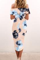 Virágos, vállon kívüli fodros Bodycon Midi ruha hasítékkal