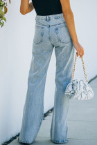 شلوار جین مشکی خلخال شکاف آبی بالا
