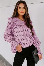 Pink Smocked Ruffle Trim Bluse