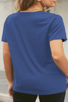 Kék neon ajkak grafikus plusz méretű póló
