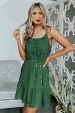 Zöld svájci pöttyös spagetti húzózsinór mini ruha