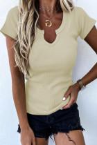 T-shirt côtelé coupe slim à col fendu abricot