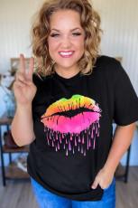 Fekete neon ajkak grafikus plusz méretű póló
