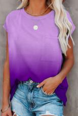 T-shirt à manches courtes de couleur dégradé violet avec poche