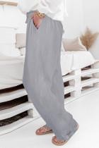 Szürke magas derék húzózsinór széles lábak alkalmi nadrág