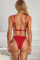 Red Valentine Broderte Strappy Hollow-out Teddy