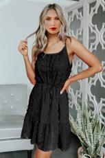 Fekete svájci pöttyös spagetti húzózsinóros mini ruha