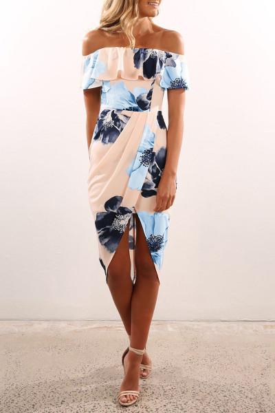 Blomstrete Bodycon Midi-kjole med rufs og rufs
