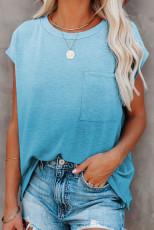 Gök Mavisi Degrade Renkli Kısa Kollu Cepli T-Shirt