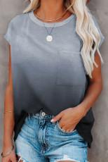 Grå gradient farge kortermet T-skjorte med lomme