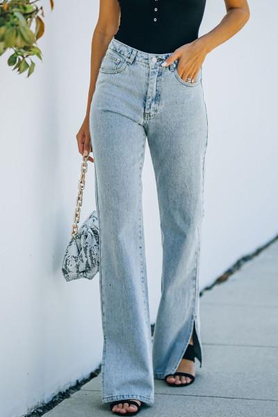 Himmelblå High Rise Slit Anklet Flare Jeans