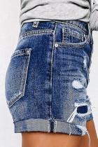 Short en jean effet vieilli à taille haute avec braguette boutonnée