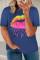 Sininen Neon Lips Graphic Plus -kokoinen T-paita