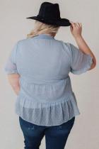 تاپ آستین کوتاه گردن مسخره ای سایز آبی به علاوه سایز گردن