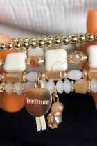 4pcs Beaded Elastic Rope Bracelet Set