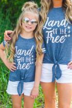 Családi gyerekeknek a szabad csíkos ujjú csomó Hem póló