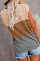 Top marron à manches courtes et color block à poches