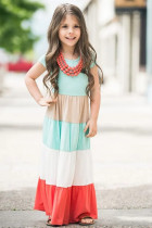 Családi megfelelő rövid ujjú színblokk gyerekeknek készült maxiruha