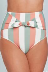 Bas de bikini taille haute imprimé rayures multicolores
