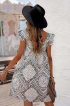 آستین گردن مربعی شکل آستین چاپ بوهمی لباس مینی