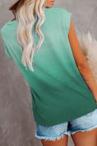 Grønn Gradient Color Kortermet T-skjorte med lomme