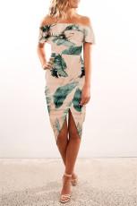Palm Leaf vállon kívüli fodros Bodycon Midi ruha hasítékkal