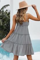 Szara sukienka mini na ramiączkach z marszczeniami