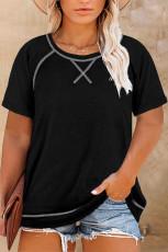 T-shirt à manches courtes ras du cou noir grande taille