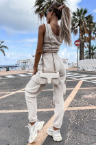 Débardeur court blanc et pantalons de jogging à poches Yoga Sports Wear