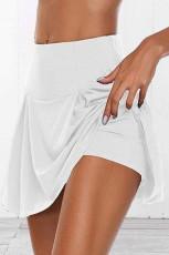 Jupe-short de yoga en cours d'exécution de tennis plissée extensible athlétique blanche