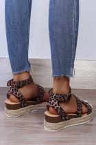 Sandales à plateforme à boucle tissée en PU léopard