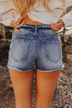 Short en jean bleu délavé effet vieilli
