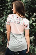 T-shirt color block à imprimé floral rose