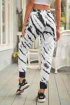 Pantalon de jogging blanc imprimé tie-dye à poches