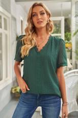 پیراهن آستین کوتاه نقطه ای از گردن V و گردن V توری